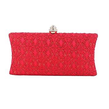 ac5070f35 Damara Elegante Caja Dura Con Encaje Cartera De Mano Para Mujer Bolso  Bandolera,Rojo: Amazon.es: Equipaje