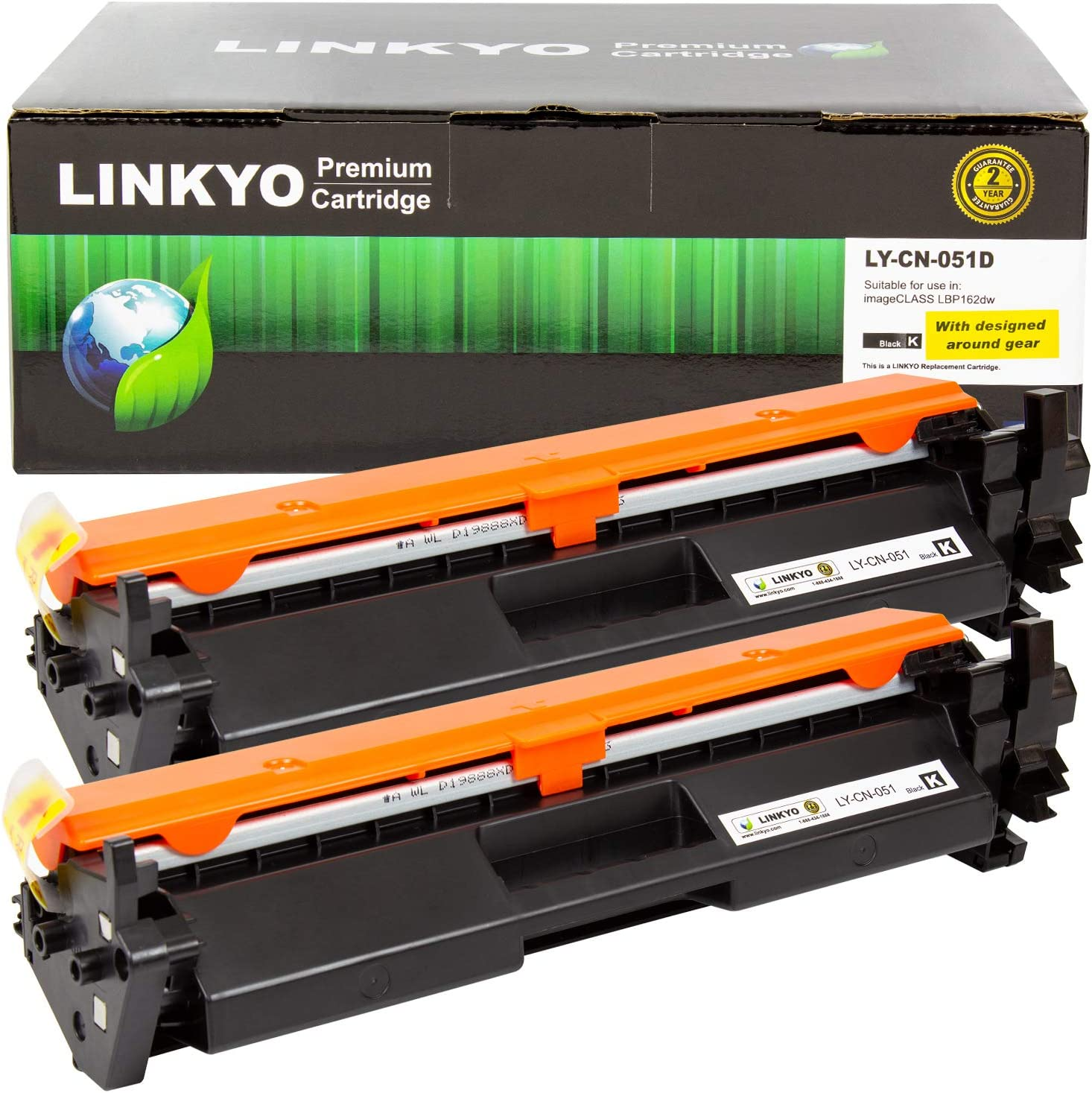 LINKYO Compatible Toner Cartridge Replacement for Canon 051 (Black, 2-Pack)
