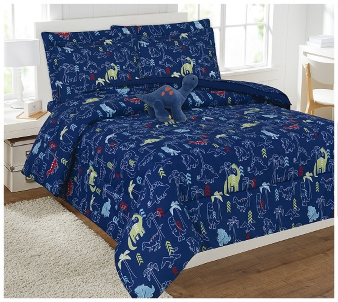 WPM 8 Piece FULL Comforter Set Kids/Teens Dinosaur Navy animal jungle print Design Luxury Bed In a Bag Furry Decorative TOY Pillow Included (Full Comforter Set)