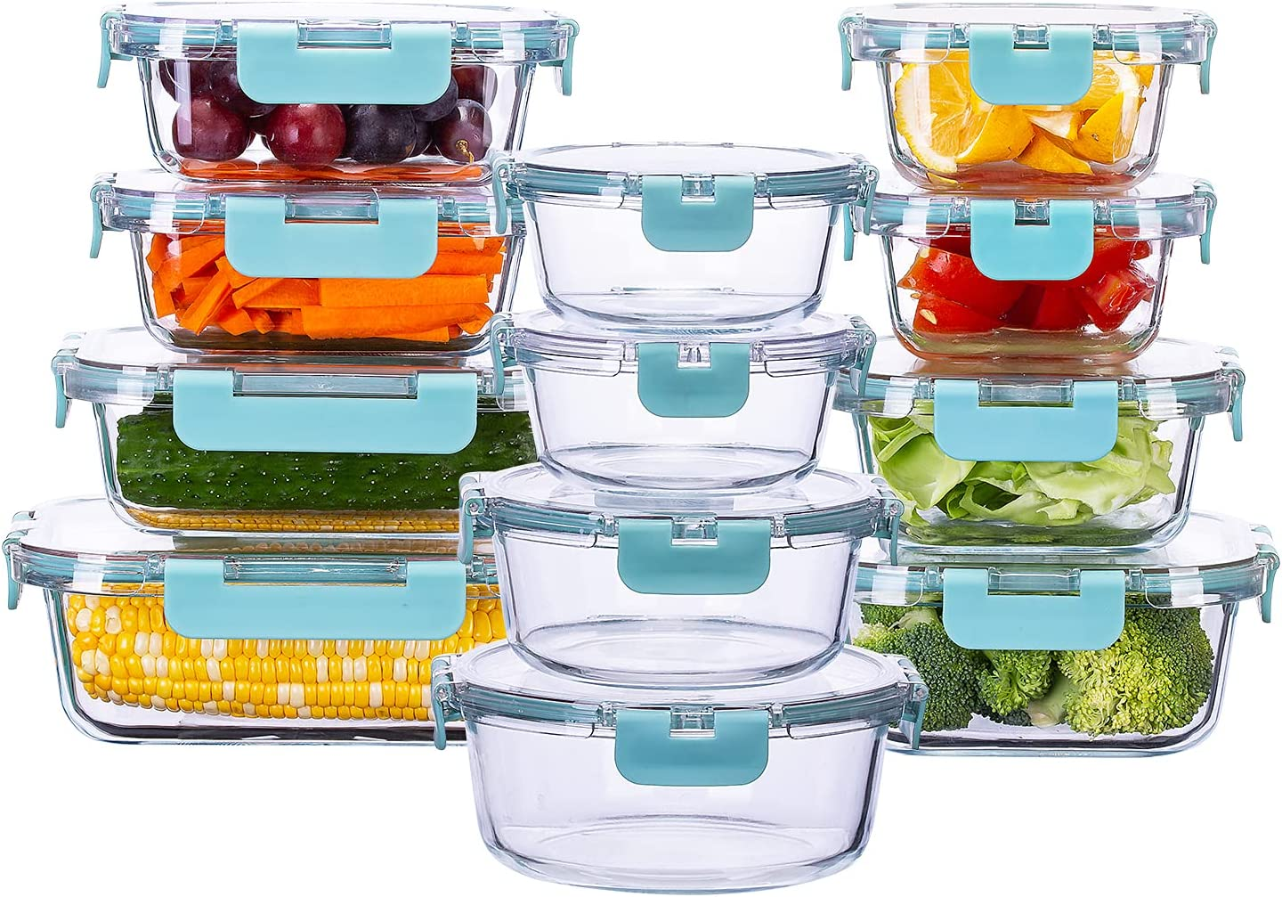 SUNNOW Vastto 12 Pack Glass Food Storage Containers with BPA Free Airtight Lids, Glass Meal Prep Containers,Airtight Glass Lunch Bento Boxes,for Kitchen and Home Use(Turquoise)