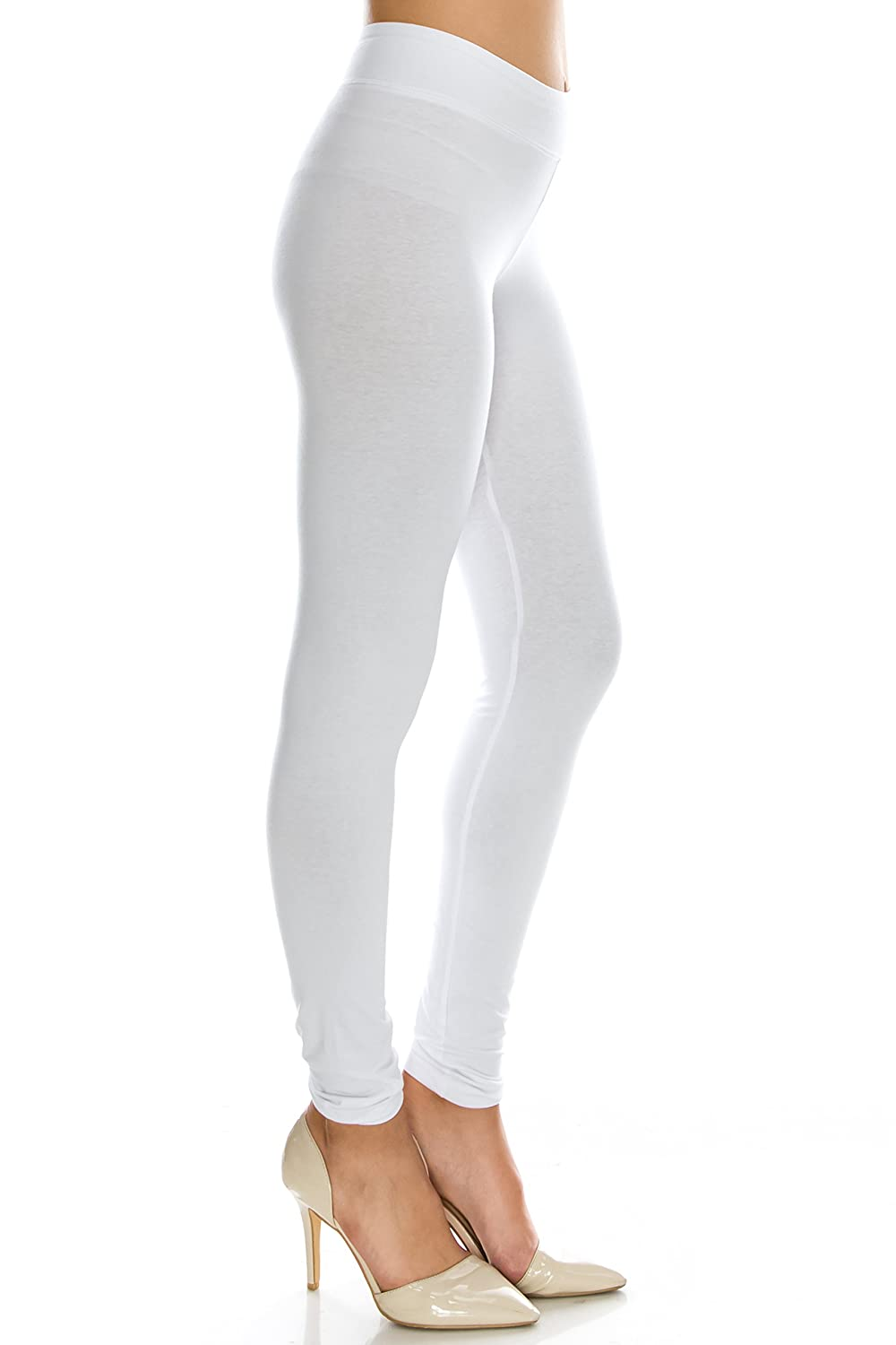 Full White Small EttelLut Cotton Spandex Basic Leggings PantsJersey Full Capri Regular Plus Size