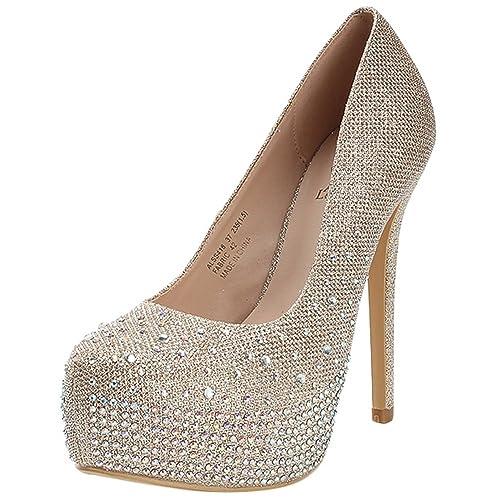 Amazon.com | Alexis Leroy Women\'s Glitter Sequins Platform High ...