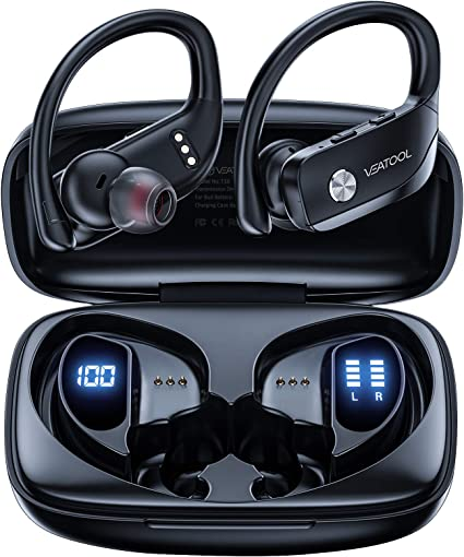 VEATOOL Wireless Earbuds Bluetooth Headphones 48hrs Play Back Sport Earphones with LED Display Ear Buds with Earhooks Builtin Mic Headset for Workout at Kapruka Online for specialGifts