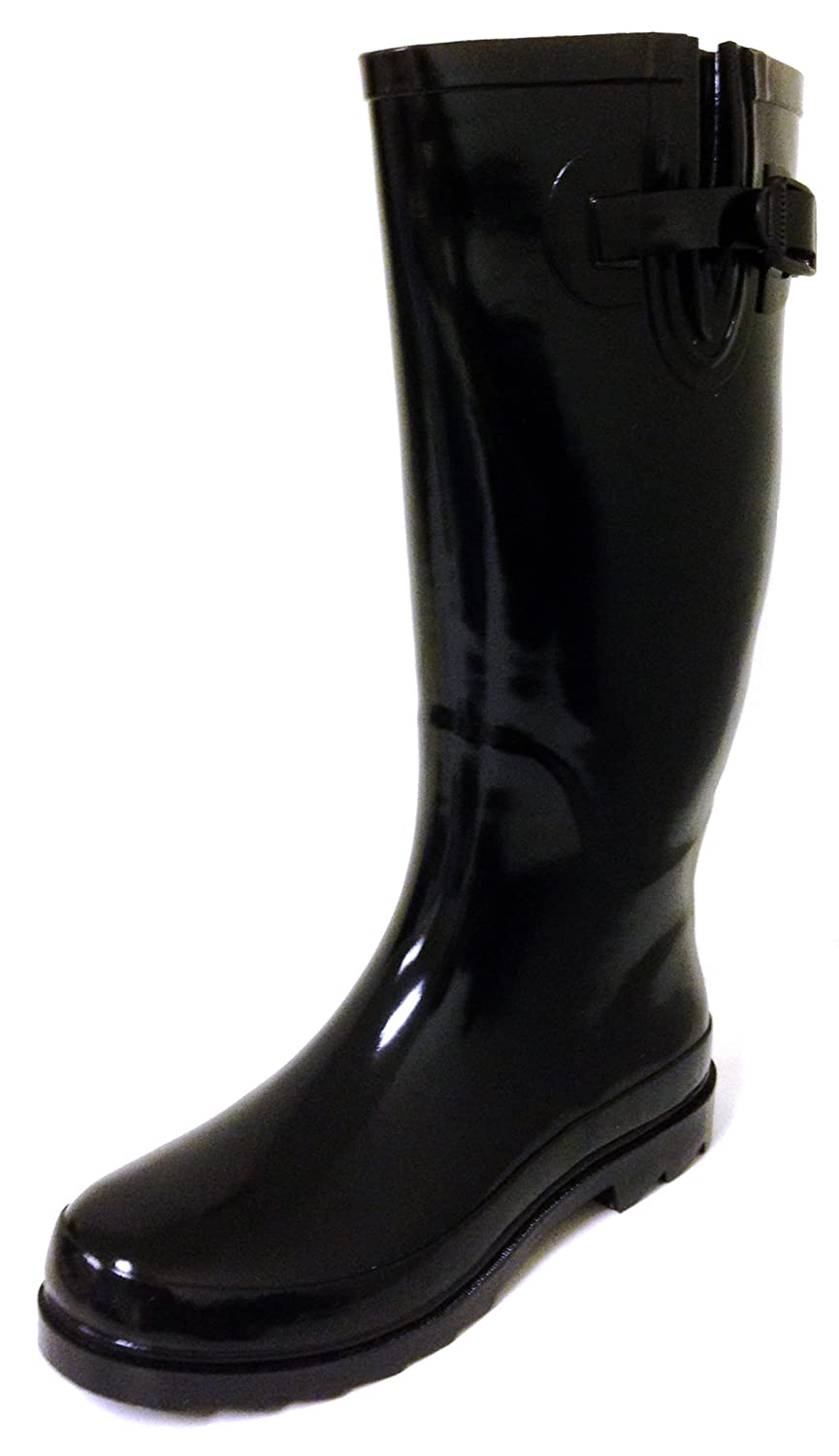 Black G4U Women's Rain Boots Multiple Styles color Mid Calf Wellies Buckle Fashion Rubber Knee High Snow shoes