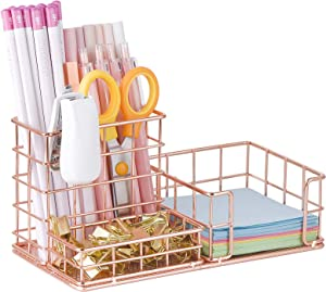 Rose Gold Pen Organizer, All in One Cute Mesh Office Supplies Accessories Caddy for Home & Office Desktop Organization & Decor