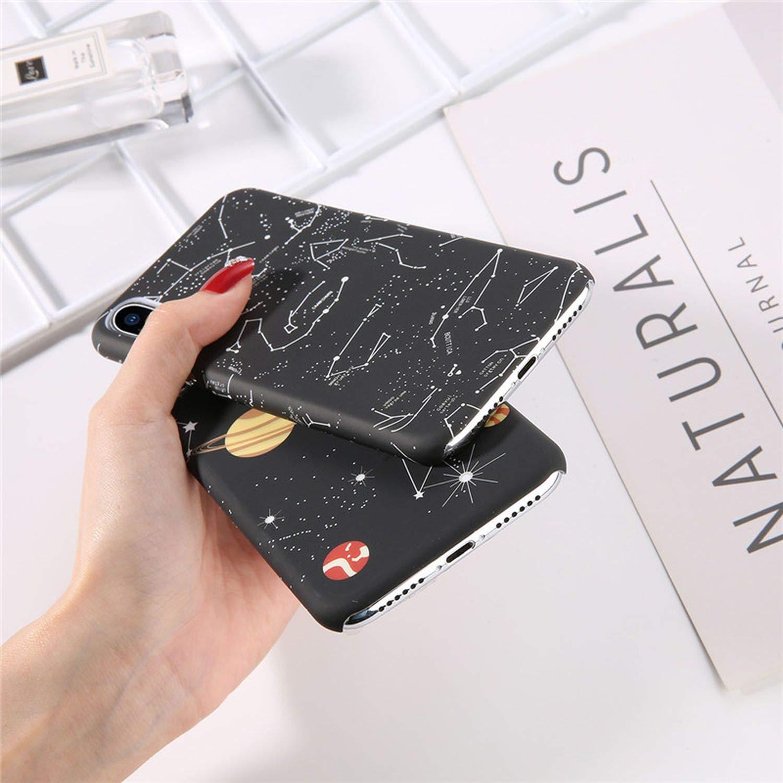 CHUNXU Coque pour iPhone 6 6S 7 8 Plus X XS Max XR Space Planet Constellation Motif PC Dur pour iPhone 7
