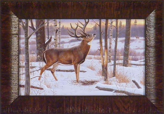 RIVER BOTTOM BUCK by Jim Hansel 11x15 Deer Snow Whitetail FRAMED PRINT PICTURE