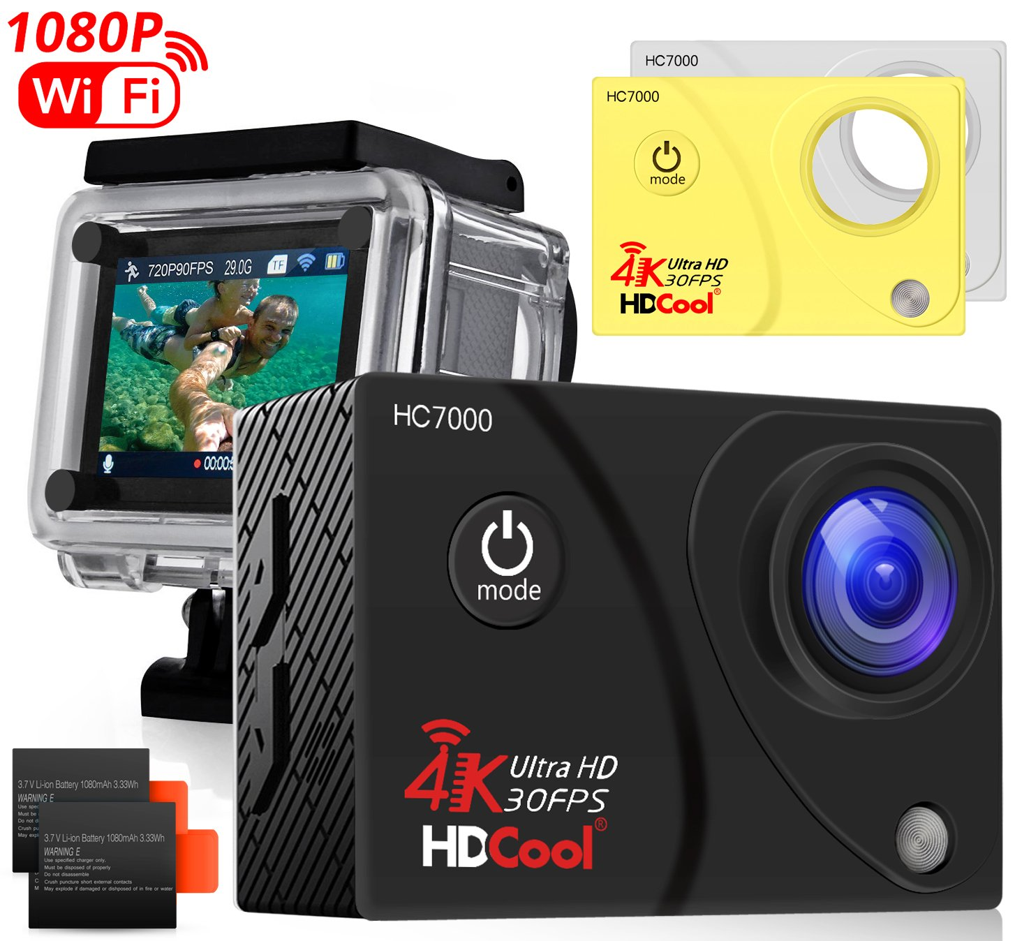 HDCool Action Camera 4K 170 Degree Waterproof Sports Camera 1080P HD 16MP Ultra Wide-Angle Lens DV Camcoder, 2.0 Inch LCD Display,Include 2 Rechargeable 900 mAh Batteries and 2 Covers by HDCOOL