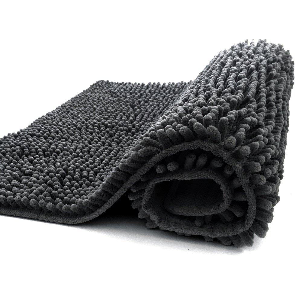 Jml Bath Rug Mat, Non-Slip Shaggy Microfiber Chenille Bathroom Rug, Extra Soft and Absorbent Machine Washable, Perfect for Bath, Tub, and Shower (Dark Grey 20 x 32 Inches)