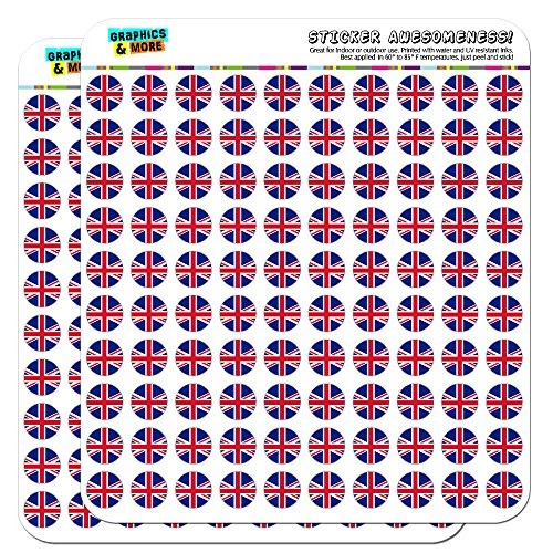 """The United Kingdom National Country Flag 1/2"""" (0.5"""") Planner Calendar Scrapbooking Crafting Stickers - Opaque"""