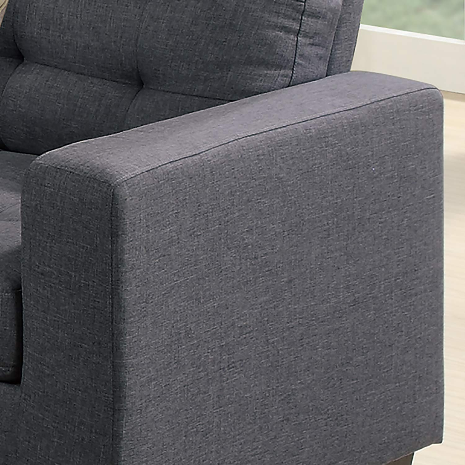 Super Poundex F6935 Bobkona Norton Linen Like 4 Piece Sectional With Ottoman Set Blue Grey Pabps2019 Chair Design Images Pabps2019Com
