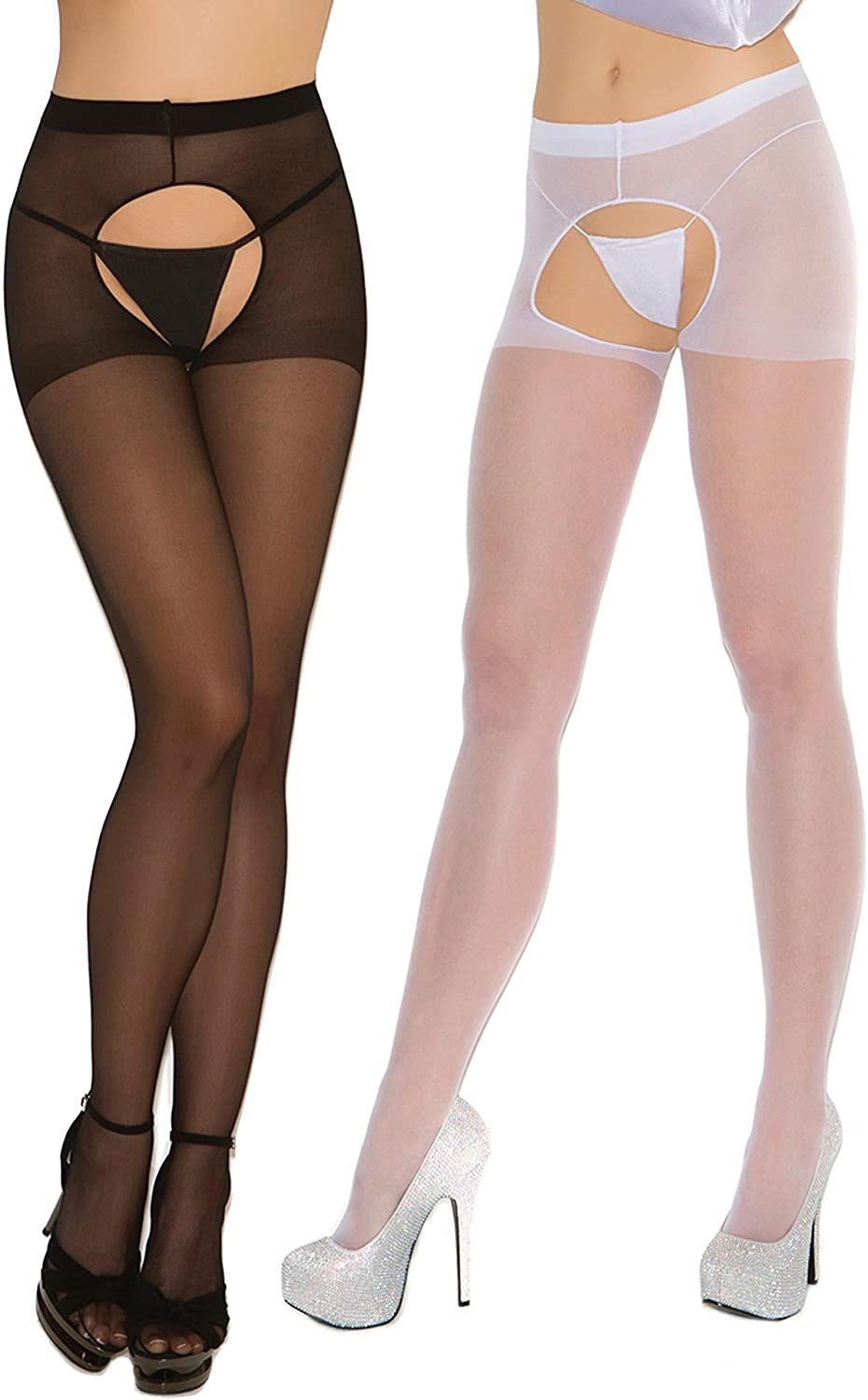Womens Sexy Sheer Crotchless Pantyhose Hosiery Stockings Tights 2