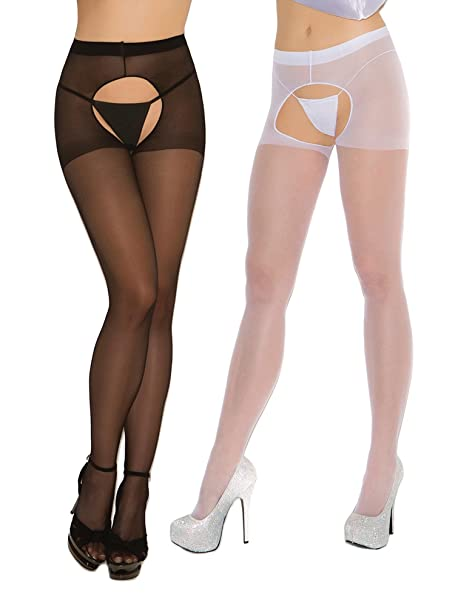a7f346b6cb1 Amazon.com  Womens Sexy Sheer Crotchless Pantyhose Hosiery Stockings Tights-  2 pack  Clothing