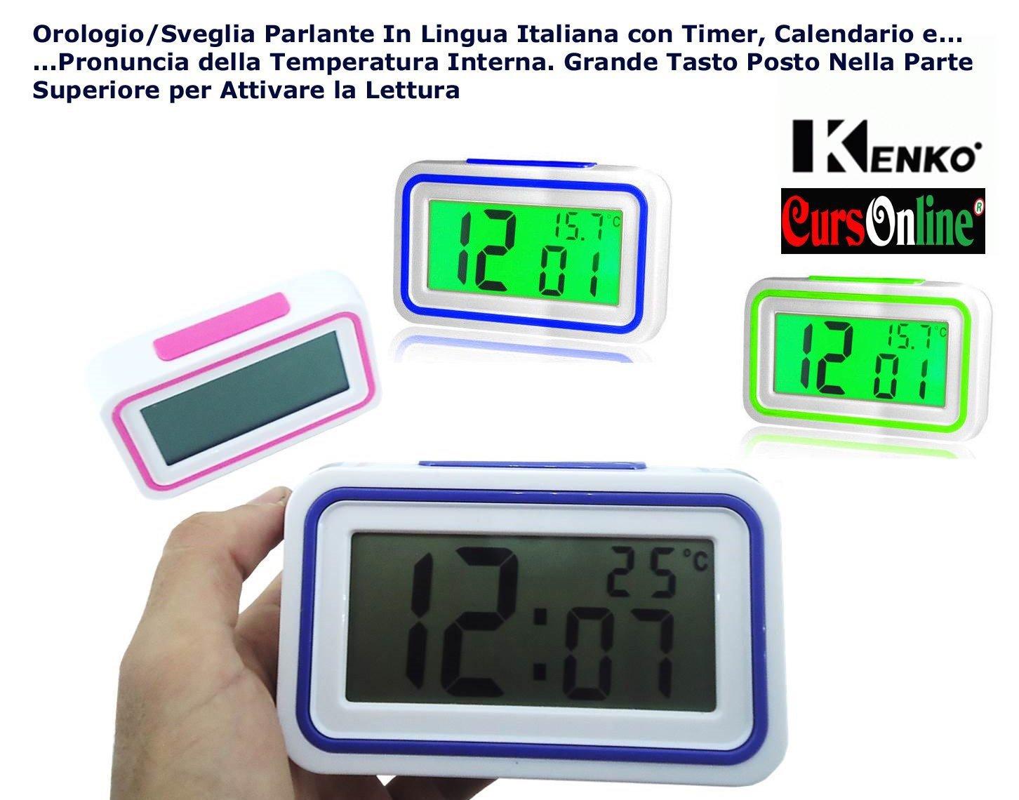 CursOnline - Elegante y pequeño reloj digital de mesa, con altavoz en lengua italiana, con indicador de hora y temperatura interior y despertador integrado ...