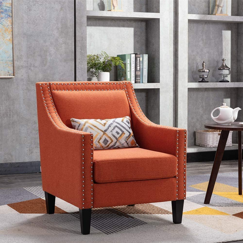 Upholstered Accent Chair with Nailhead Trim and Solid Wood Legs Comfy Single Sofa Office Guest Chair for Living Room Family Room (Orange)