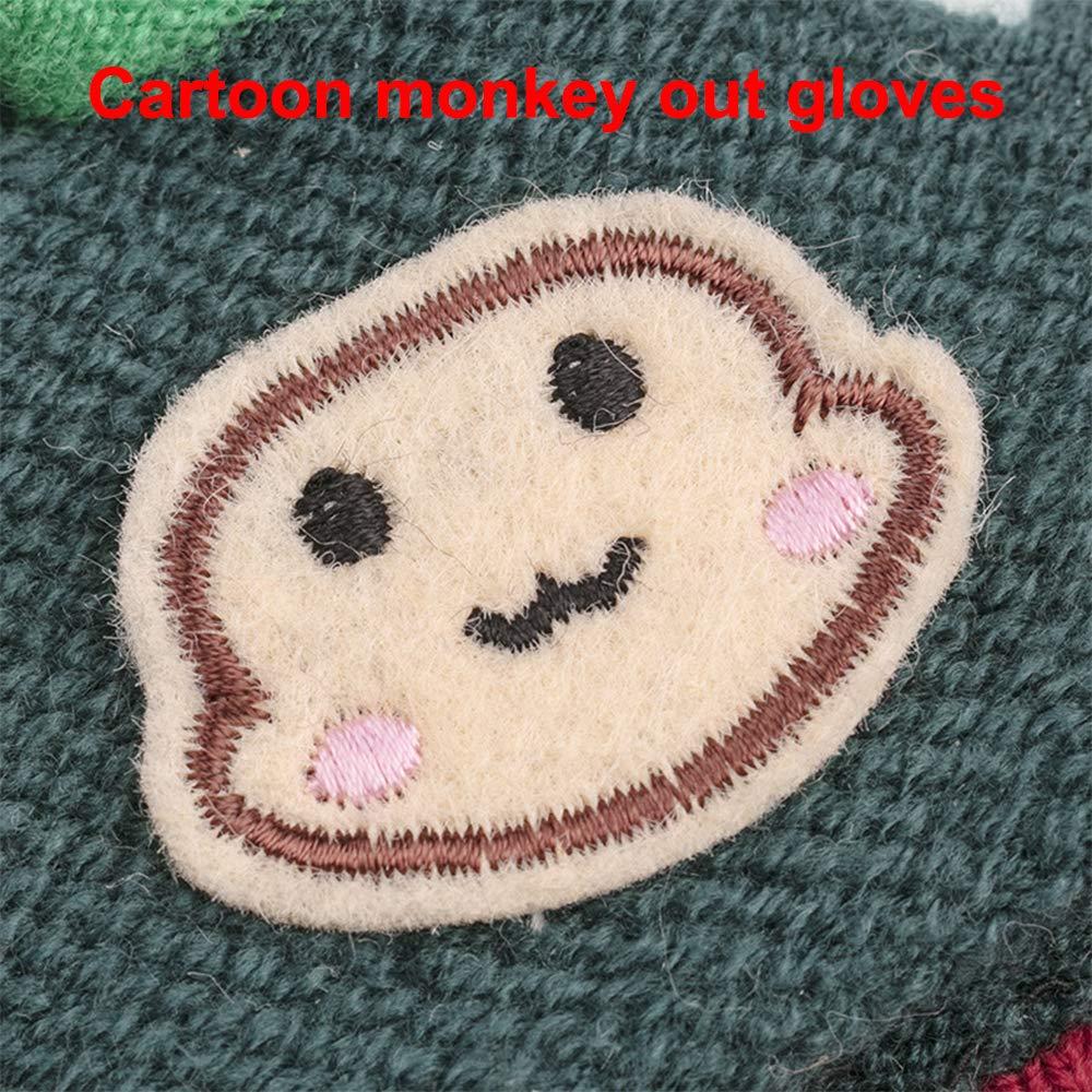 grey-pink Kids Glove Magic Convertible Flip Top Gloves Winter Warm Knitted Mittens Fingerless Glove for Baby Boy Girl 3-7 Years