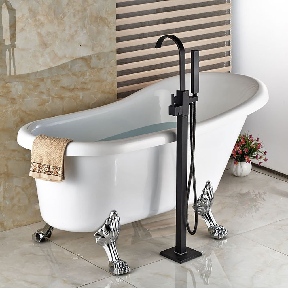 Zovajonia Oil Rubbed Bronze Floor Mounted Bathtun Filler Shower ...