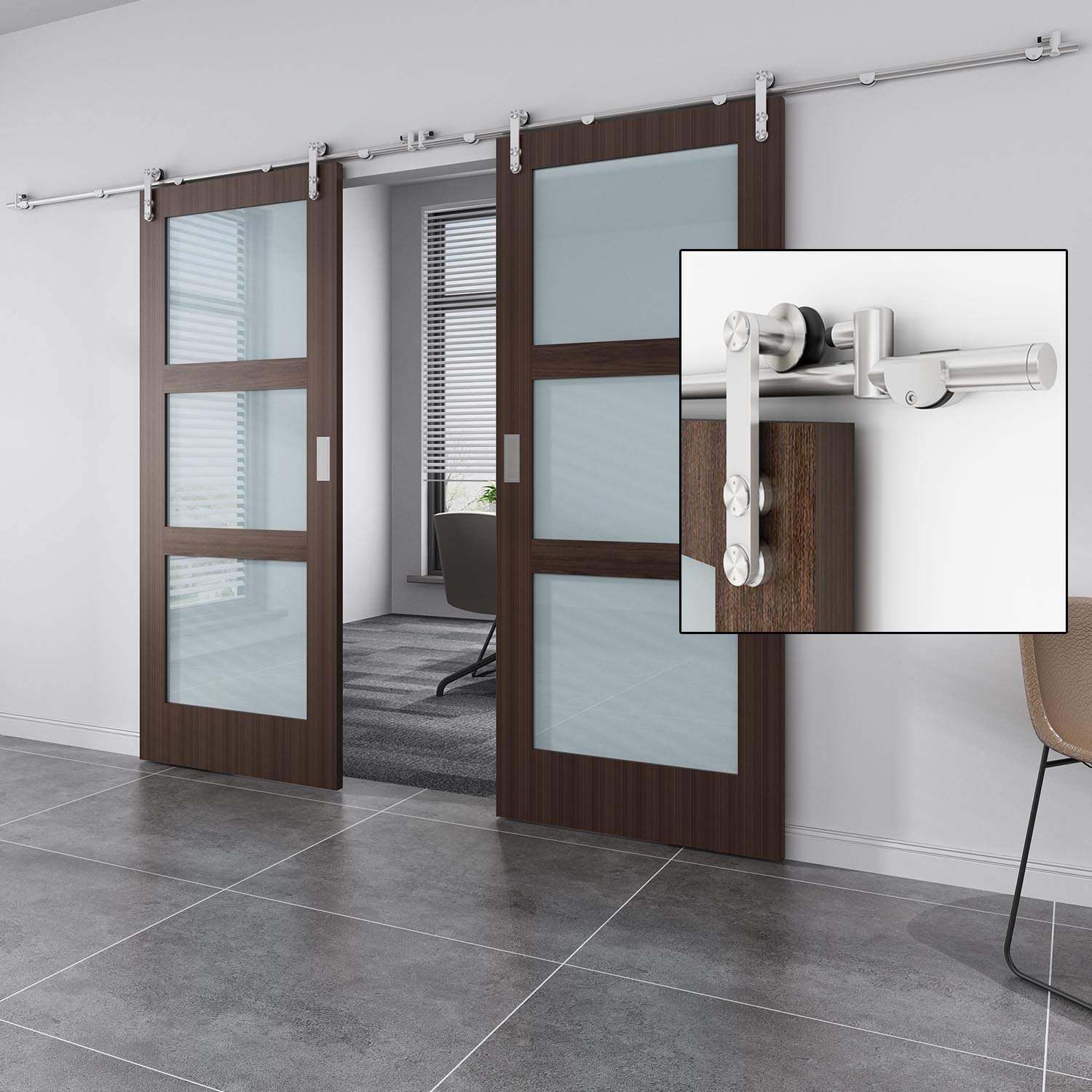 EaseLife 10 FT Stainless Steel Double Sliding Barn Door Hardware Track Kit - Heavy Duty - Anti-Rust - Slide Smooth Quiet - Easy Install- Fit Two 24''~30'' Wide Door - 10FT Track Double Door Kit