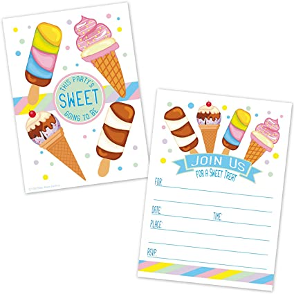 ice cream cone birthday party invitations kids summer ice cream social invites 20