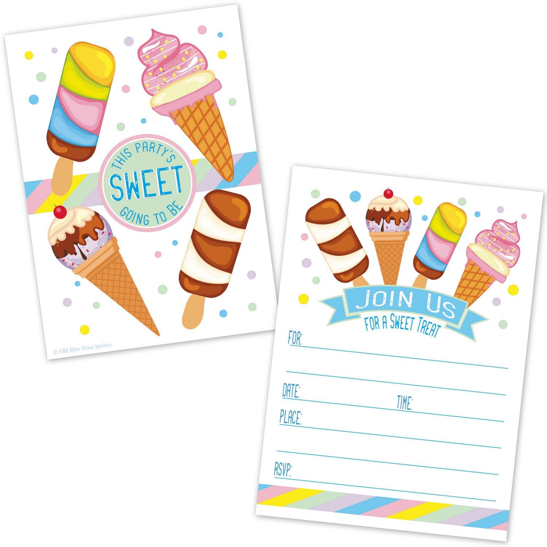 Ice Cream Cone Birthday Party Invitations - Kids Summer Ice Cream Social Invites - (20 Count with Envelopes)