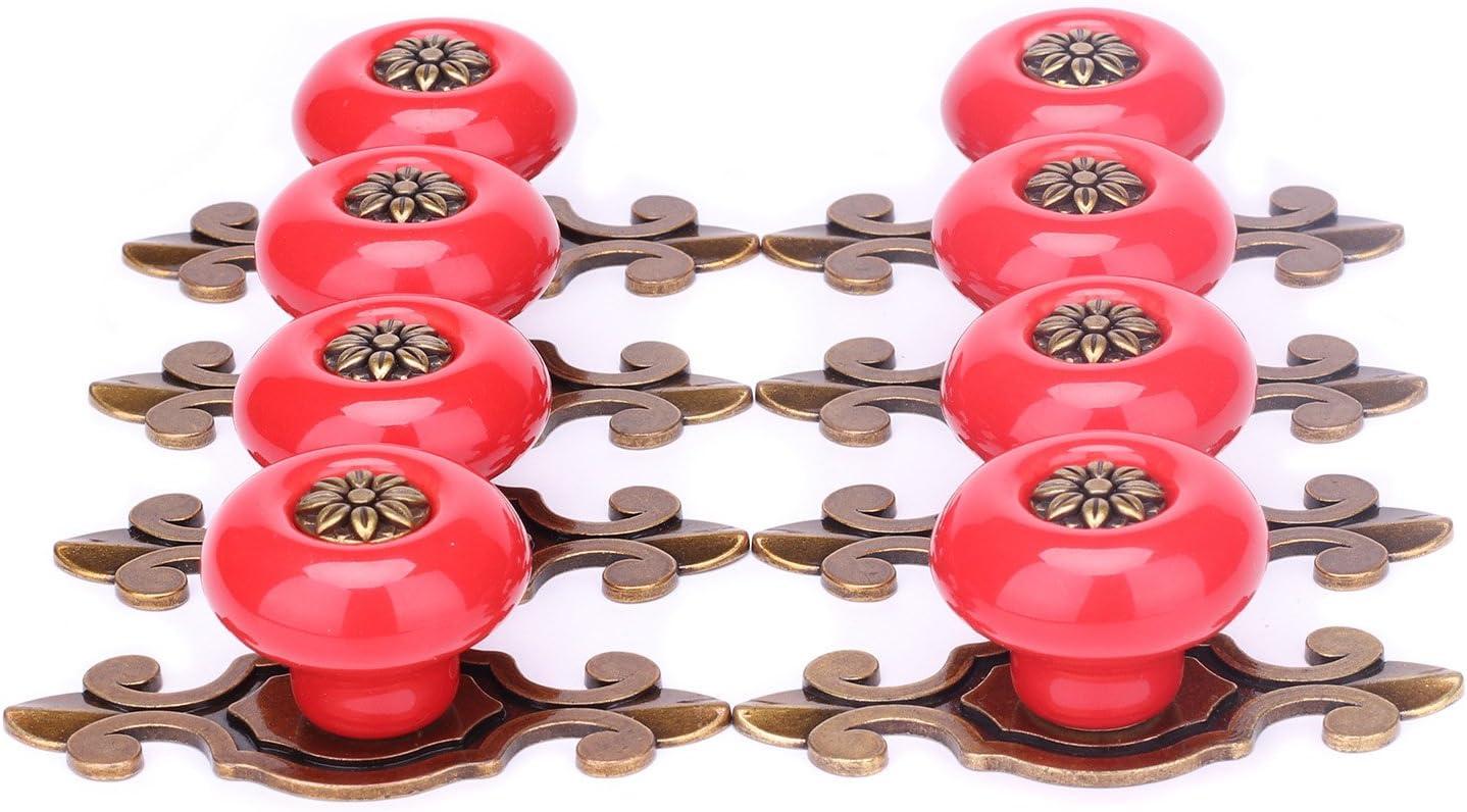 SunKni 8 Pack Ceramic Drawer Pulls and Knobs with Back Plates Vintage Cabinet Knobs for Dresser Drawers Kitchen Cupboard Bathroom Wardrobe Furniture Hardware Ceramic Door Knob Large Round (Bronze-Red)