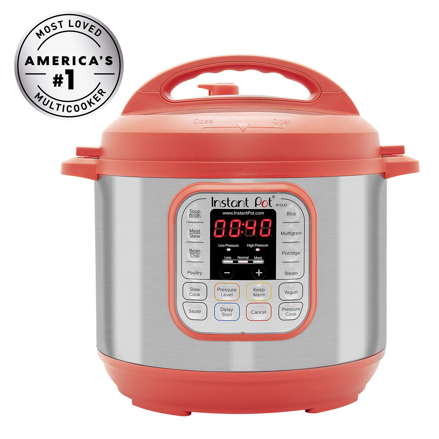 Instant Pot Duo RED 60, 120V-60Hz, 7-in-1 Multi-Use Programmable Pressure, Slow, Rice Cooker, Steamer, Sauté, Yogurt Maker and Warmer, Stainless Steel- 6 Qt by Instant Pot