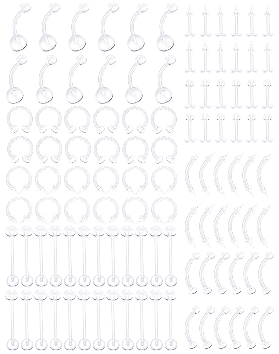 JOERICA 108 Pcs Acrylic Body Jewelry Piercing Clear Retainer Nose Horseshoe Lip Tongue Eyebrow Tragus Navel Belly Ring Barbells 14G-16G JAPNS03-108P
