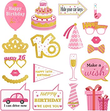 20pcs Pink 16th Balloons Glitter Sweet 16 Birthday Party Banner Celebration