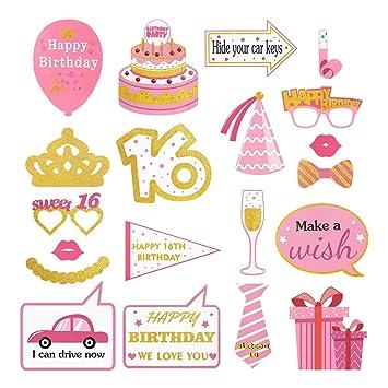 Amosfun Kit de Accesorios para Fotos de cumpleaños 16º Kit ...