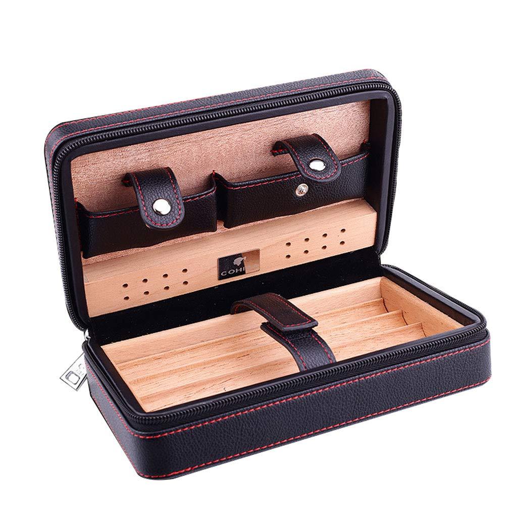 Cigar Holster Cigarette Portable Cigar Box Travel Set Four Leather Cork Cigar moisturizing Cigarette case (Color : Black)