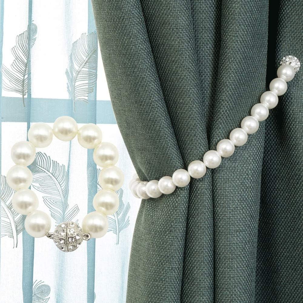 Abrazaderas Cortinas 1 par de los hombres hechos perla cortina Tiebacks estilo moderno decoración cortinas retenedores cuerda titular para oficina en casa para el hogar y la oficina decoración