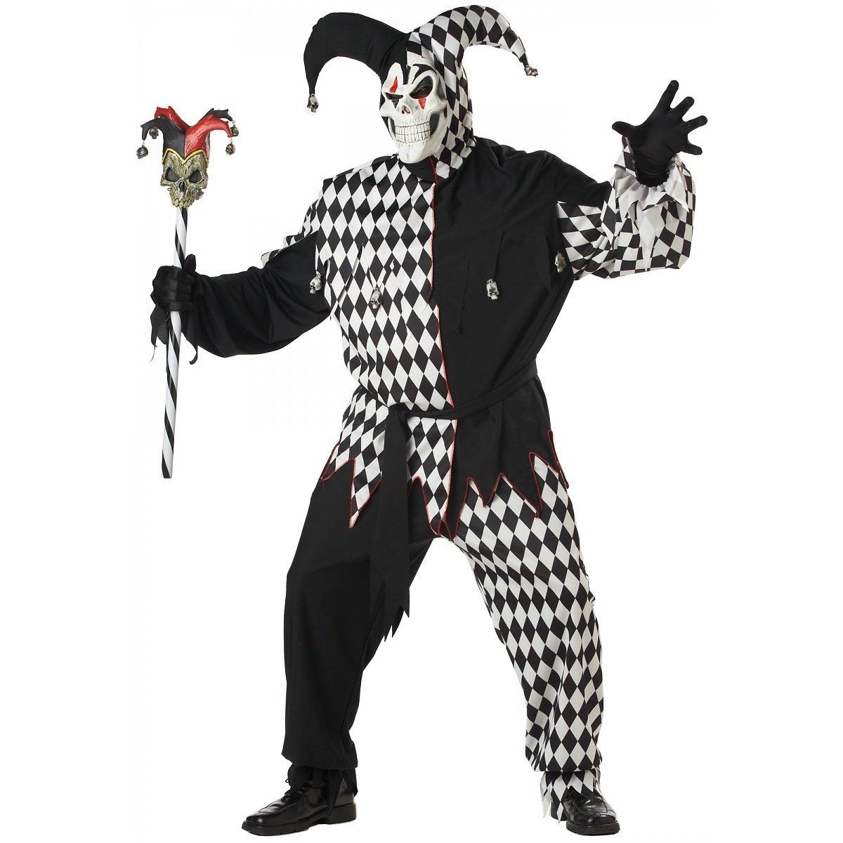 Horror Hofnarr Übergröße Kostüm Schwarz und Weiß Herren Herren Herren Größe XXXL 069290