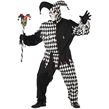California Costumes - Disfraz De Bufón Malvado/Joker Blanco Negro Vestido Para Hombre Talla 3XL