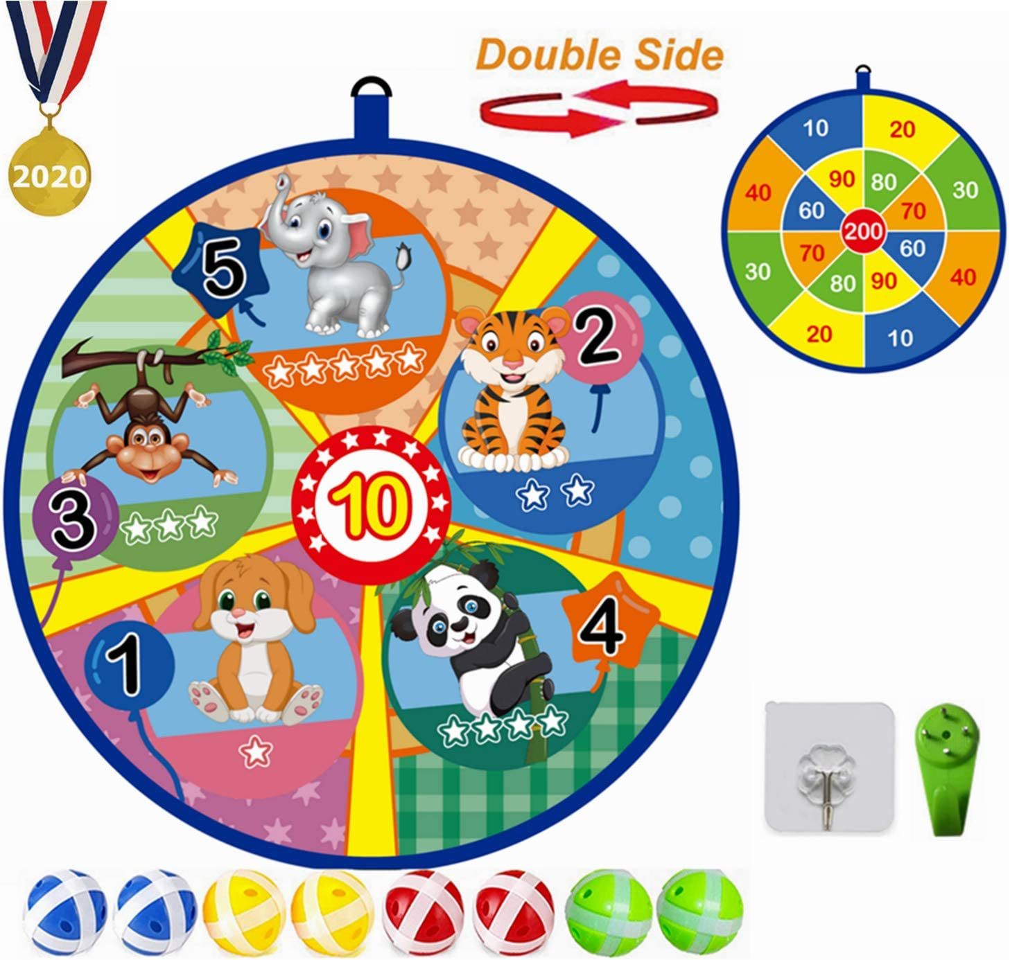 Lbsel Juego para niños Doble Cara Dart Board con 8 Bolas Juegos de Mesa para niños Toy-Safe Dart Game-Regalo para niños elección de Juego Interior al Aire libre-13.2 Inches (33.5cm): Amazon.es: Deportes