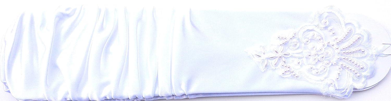 12 Inch Shiny White Color Spandex Fingerless Opera Wedding Prom Gloves