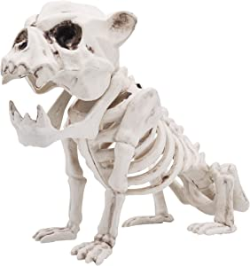 "Halloween Decoration 11"" Pose-N-Stay Puppy Skeleton Plastic Dog Bones with Posable Joints for Pose Skeleton Prop Indoor / Outdoor Spooky Scene Party Favors Décor."
