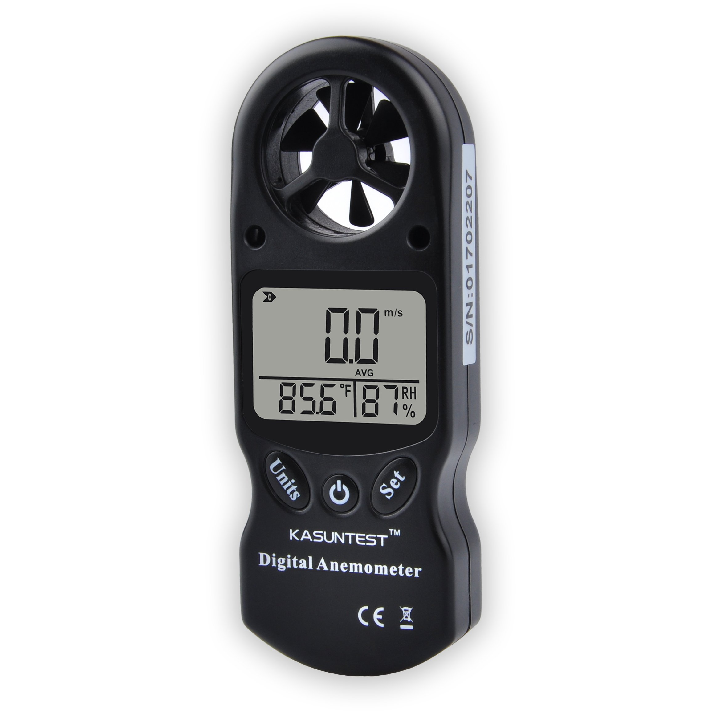 KASUNTEST 3 In 1 Digital Anemometer LCD Wind Speed Meter Gauge Air Flow Velocity Tester with Temperature and Humidity Measurement KT300