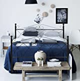 Aingoo Metal Double Bed 4ft 6 Bed Frame Solid Bedstead Base in Black