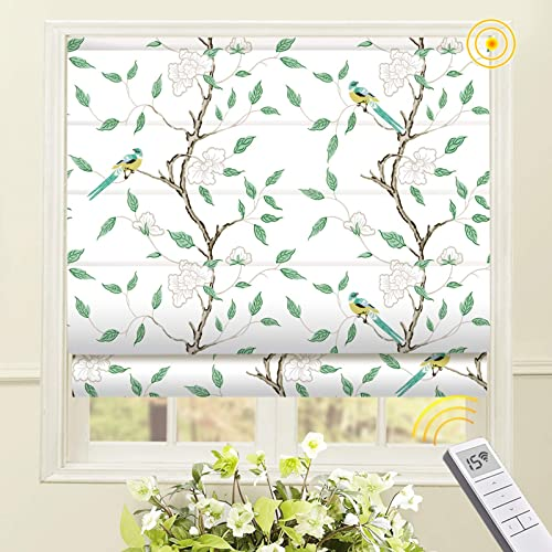 Artdix Motorized Cordless Roman Shades Blackout Window Shade
