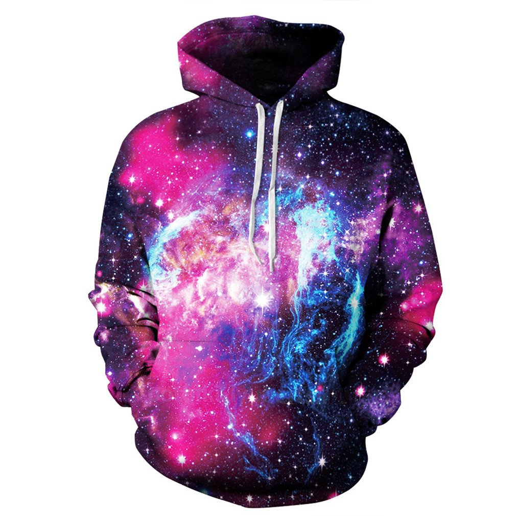 Cavinsle Sweatshirts 3D Print Space Galaxy Men Women Hoodies with Hat Fashion Hoody Sportswear