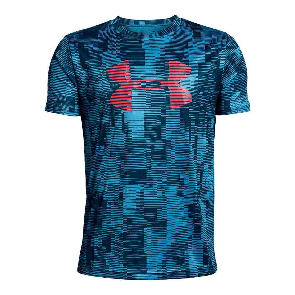 Under Armour Boys' Tech Big Logo Printed T-Shirt, Ether Blue (452)/Red Rage, Youth X-Small
