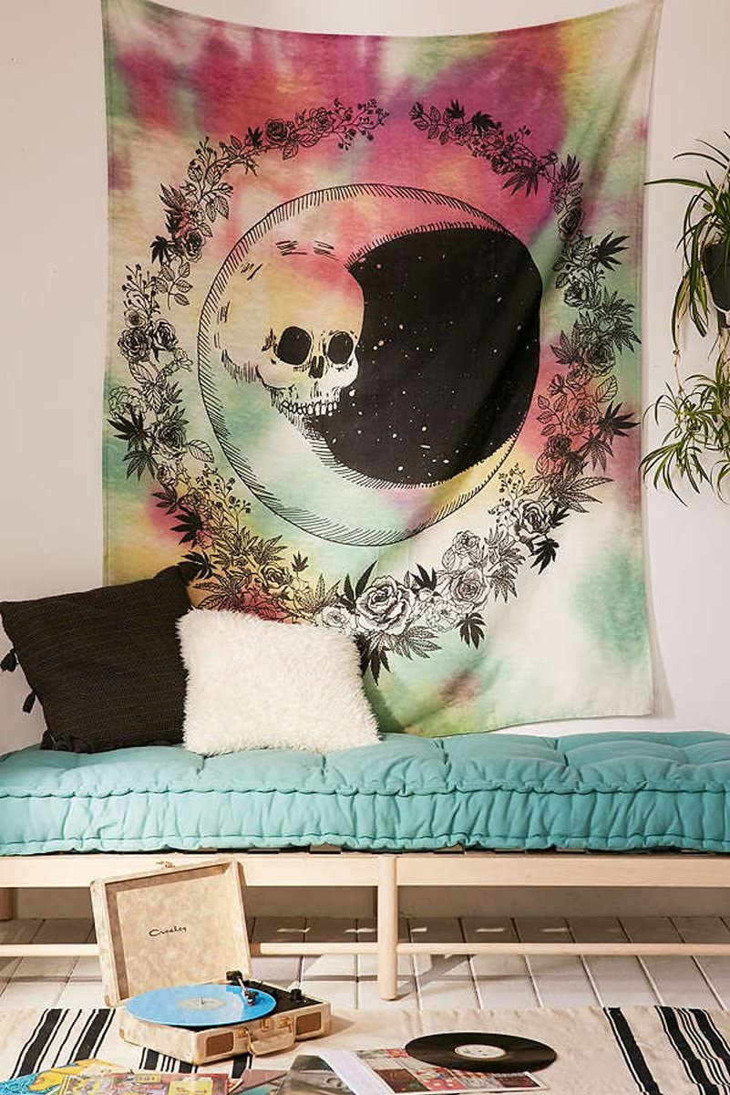 """Red and Green Tie Dyed Withe Skull Face Moon Be Round by Floral Design,Wall Art Hanging Tapestry Dorm Decor (60"""" H x 80"""" W, Skull Moon)"""