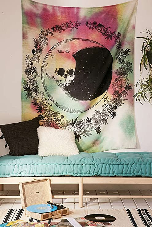 Red and Green Tie Dyed Withe Skull Face Moon Be Round by Floral Design¡ê?Wall Art Hanging Tapestry Dorm Decor (51