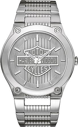 Harley Davidson 76A134 - Reloj de Cuarzo para Hombre, Correa de Acero Inoxidable Color Plateado