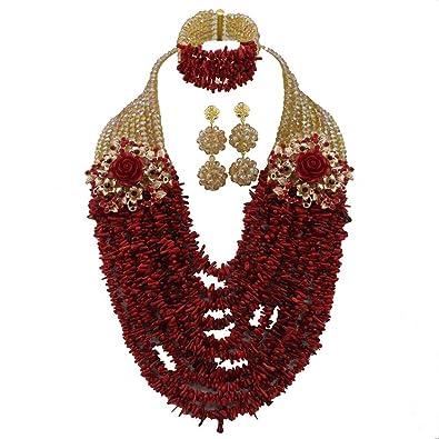 AfricanBeads 10rows disfraz rojo coral africano cuentas Joyería ...