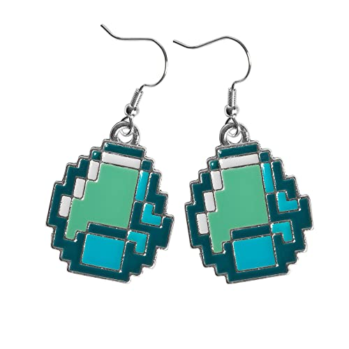 Minecraft Diamond Ore Pendant Earrings