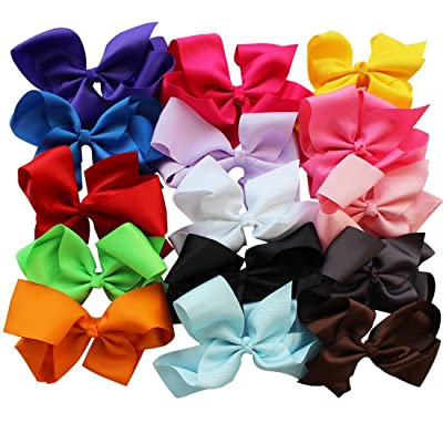 "YiZYiF 15pcs 6"" Big Hair Bows Boutique Baby Girl Alligator Clip Grosgrain Ribbon"