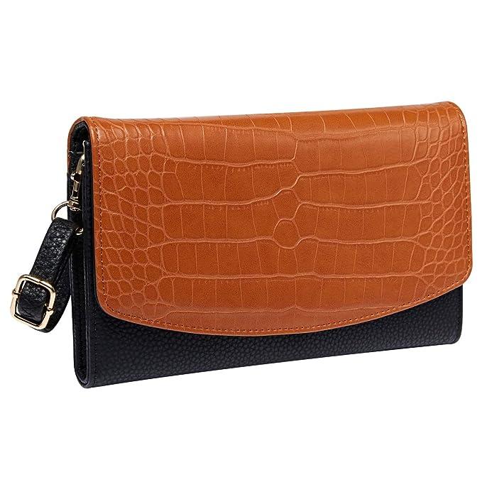 5cafb8d625f Heaye Women's Clutches Purse with Wrist Strap Handbags Animal Snake  Crocodile Wristlet Wallet