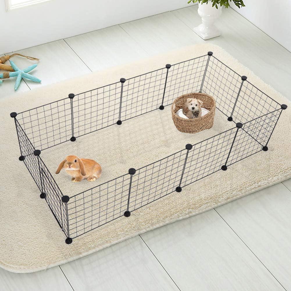 Recinto Gabbia per Animali Domestici Piccolo Box per Animali Domestici Canile e Recinto per Cani Gatti in Stile Appartamento in Filo Metallico Nero 11 Pezzi
