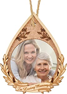 Creawoo Christmas in Loving Memory Wooden Frame Ornament, Xmas Memorial Teardrop-Shaped Picture Photo Frame, Sympathy Gift, Remembrance and Bereavement Keepsake Present